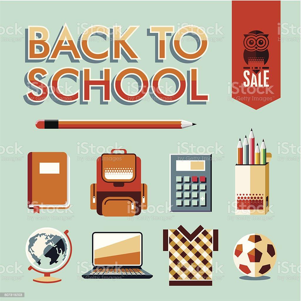 Back to school. School icons set. vector art illustration