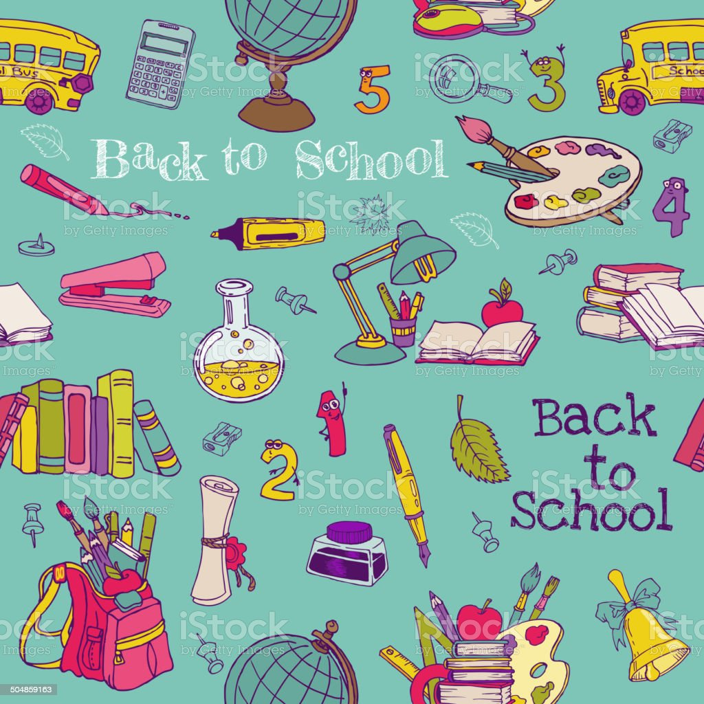 Back to School - Seamless Background vector art illustration