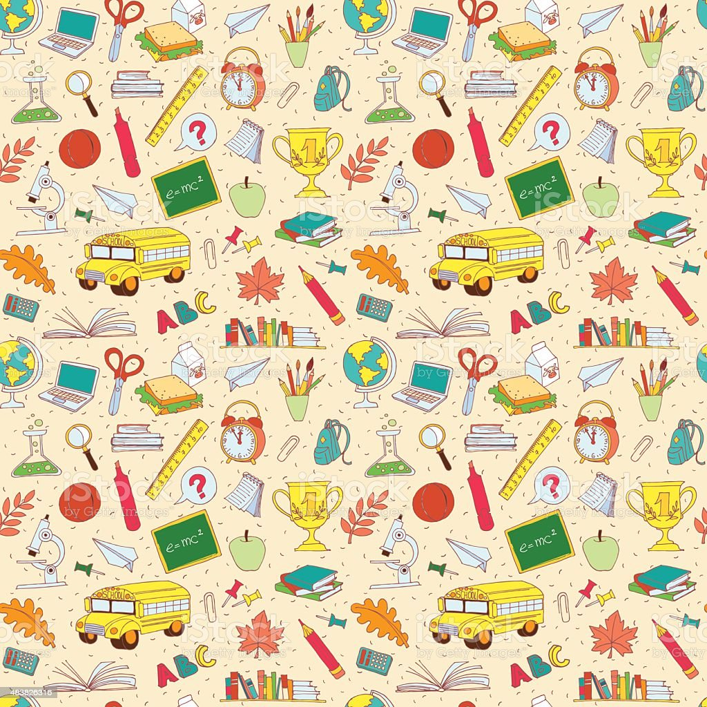 Back to school seamless pattern of kids doodles vector art illustration