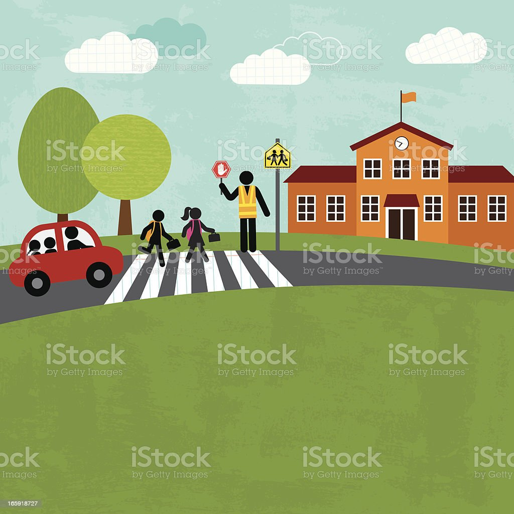 Back to school series with children crossing the street royalty-free stock vector art