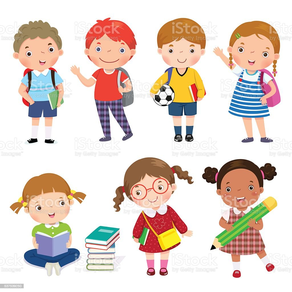 Back to school. Set of school kids in education concept. vector art illustration