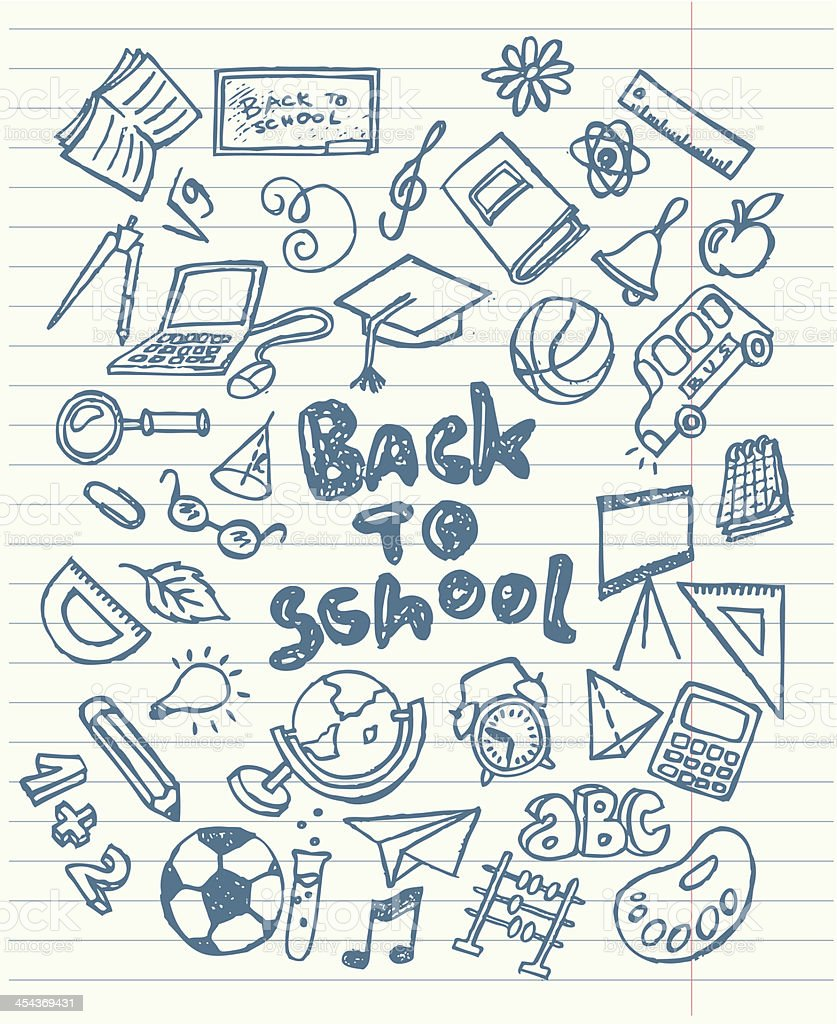 Back to school sketchy doodles royalty-free stock vector art