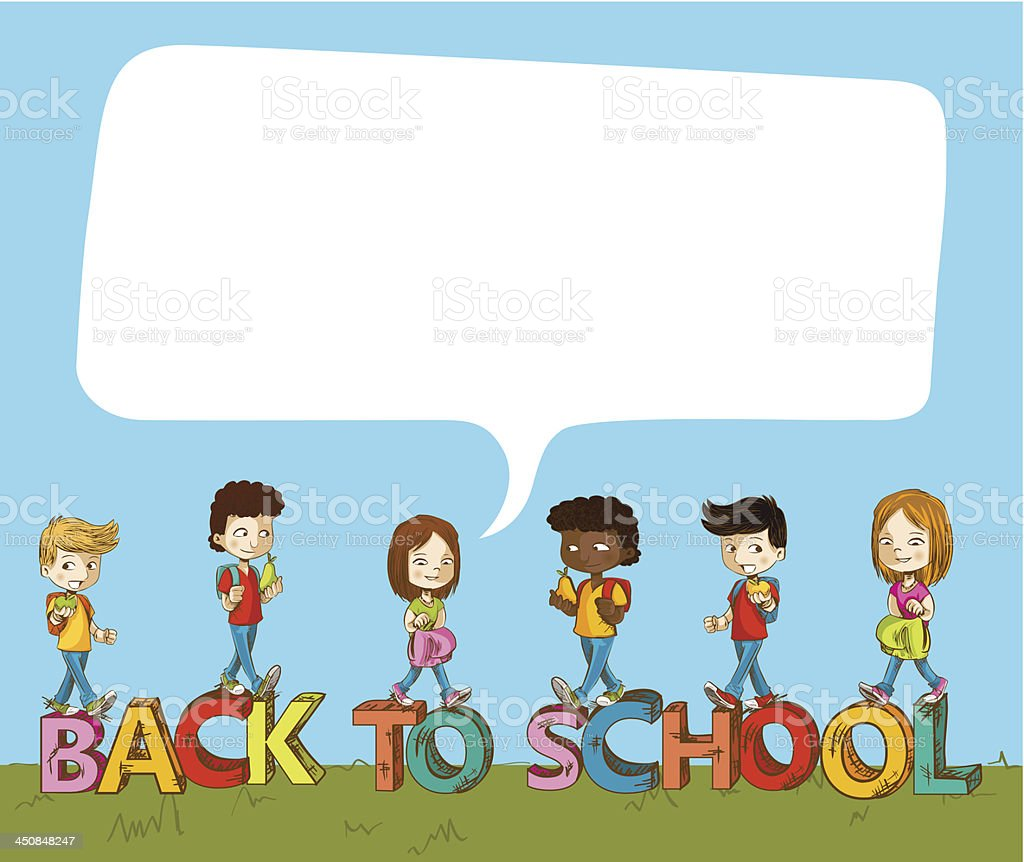 Back to School social children background royalty-free stock vector art