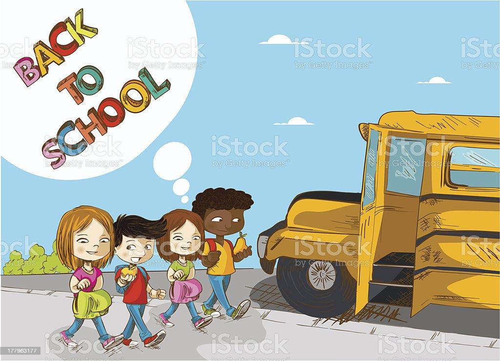 Back to School social children royalty-free stock vector art