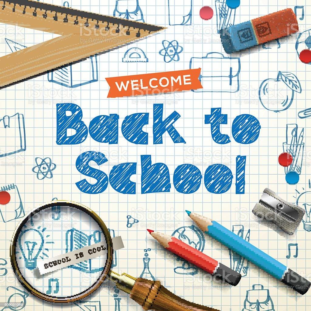 Back to school, squared paper, doodle background vector art illustration