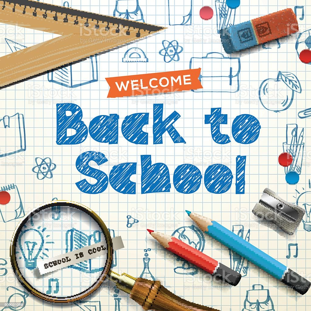 Back to school, squared paper, doodle background vector art illustration