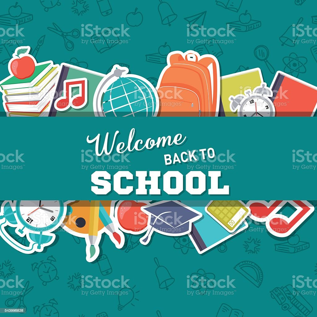 Back To School Supplies Background vector art illustration