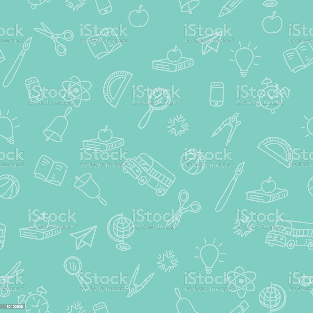 Back To School Supplies Background With Seamless Pattern vector art illustration