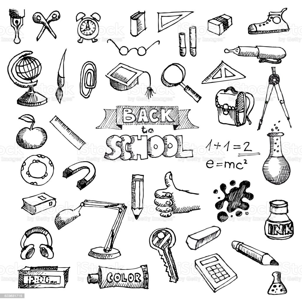 Back to School Supplies Sketchy Doodles with Lettering vector art illustration