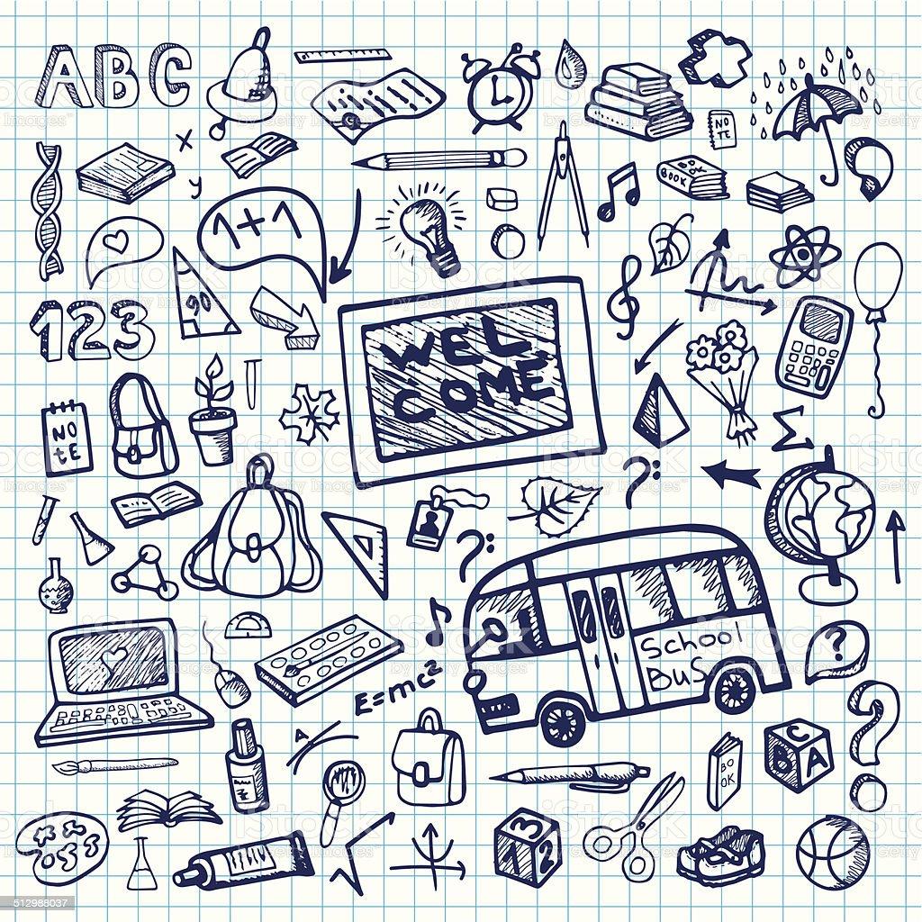 Back to School Supplies Sketchy notepaper.Ink Doodles vector art illustration