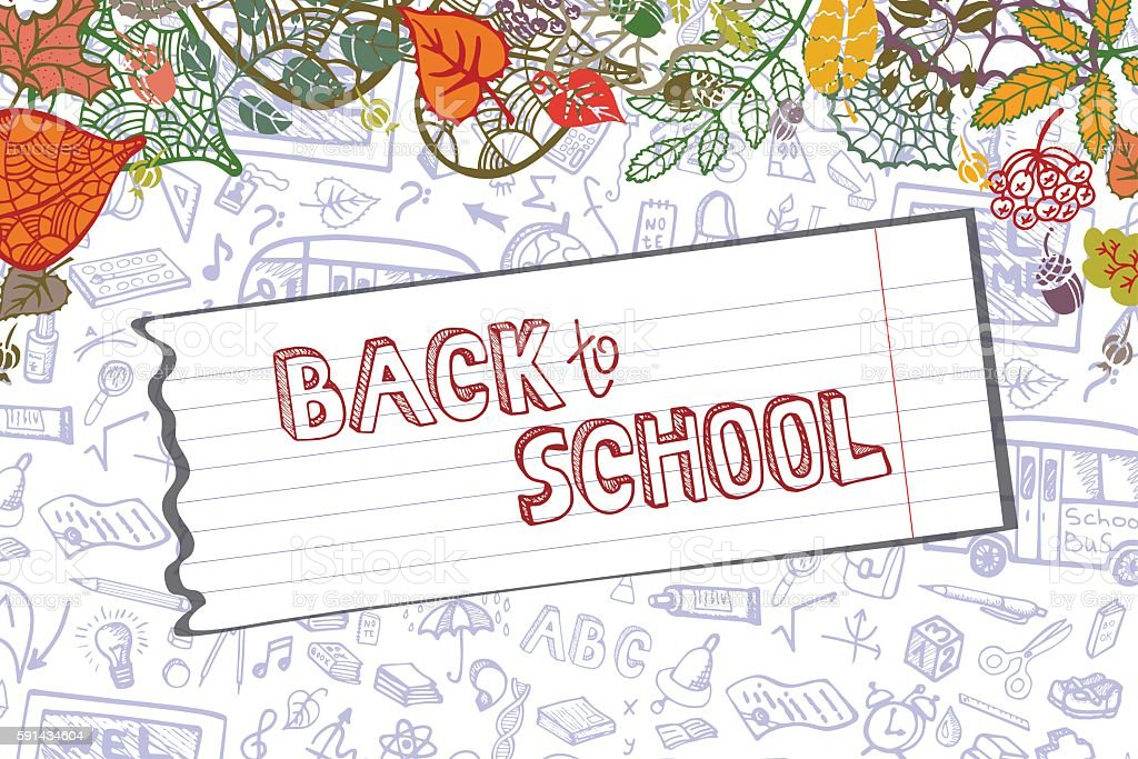 Back to School Supplies Sketchy.Lieaves,paper.Horizontal vector art illustration