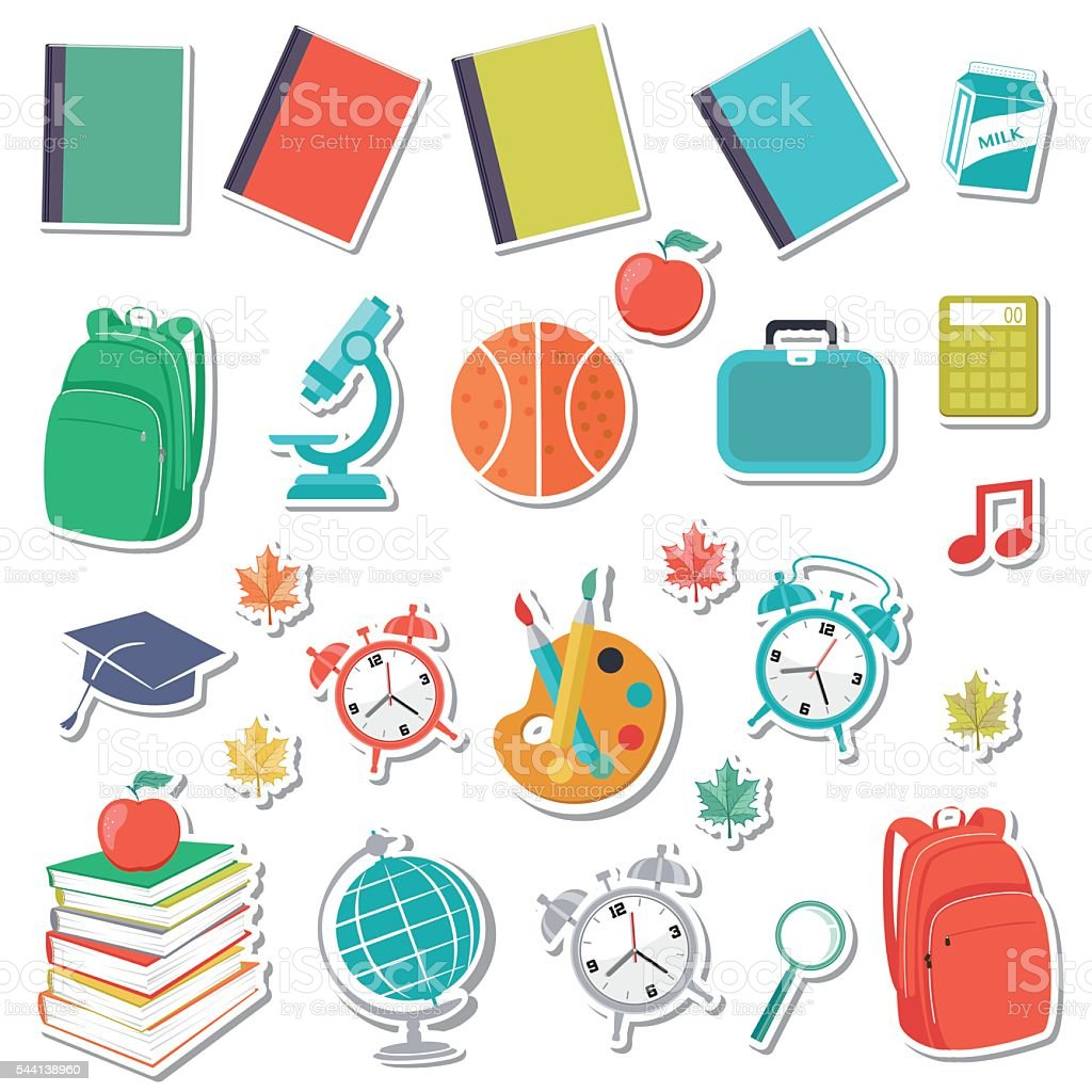 Back To School Supplies Sticker Icons vector art illustration