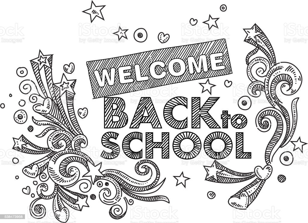 Back to School Text Drawing vector art illustration