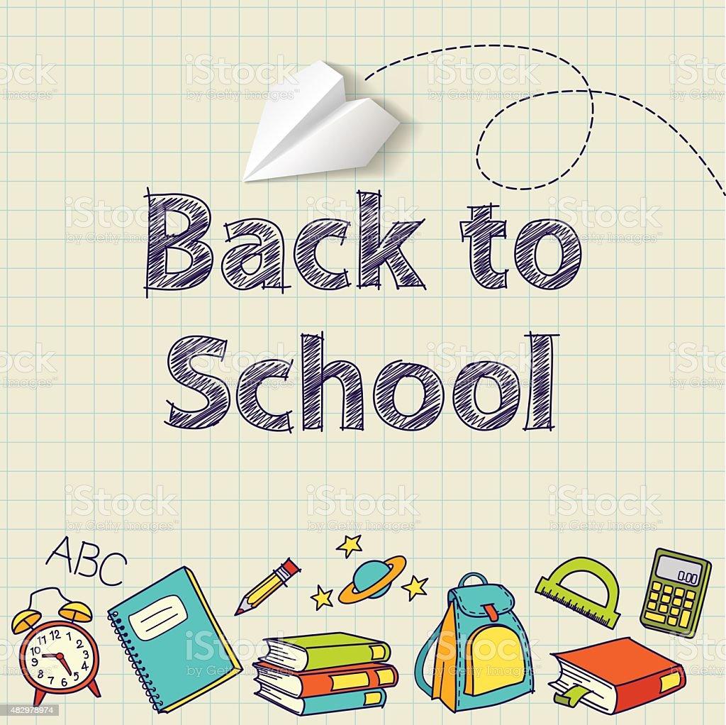 Voltar para a escola doodle vetor texto final vetor e ilustração royalty-free royalty-free