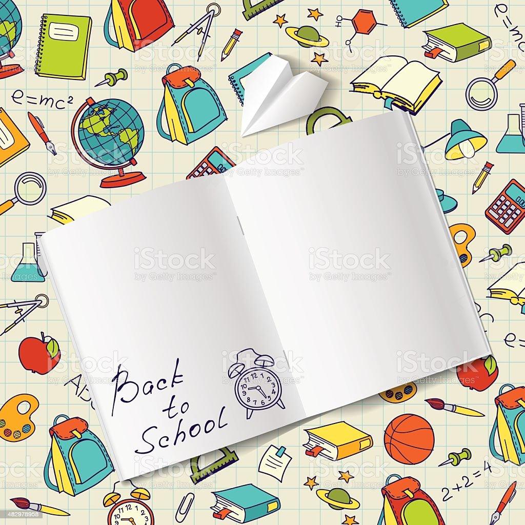 Texto de volta para a escola em um notebook doodle vetor final vetor e ilustração royalty-free royalty-free