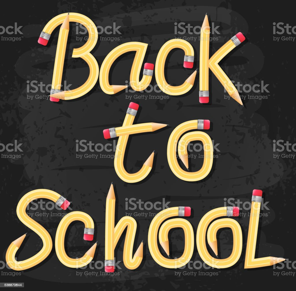 Back to School Text Typography Made of Pencil vector art illustration