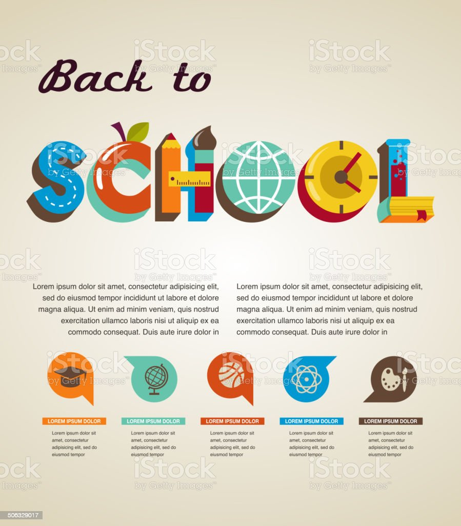 Back to school - text with icons. Vector concept vector art illustration