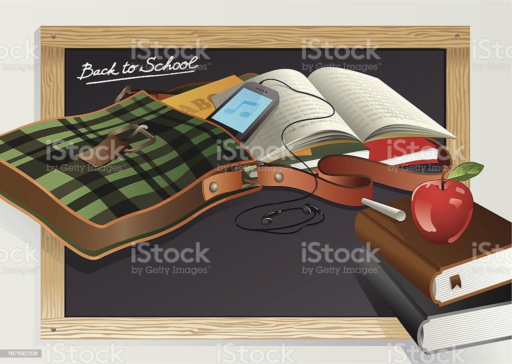 Back To School Themed Bag, Smartphone, Books Vector vector art illustration