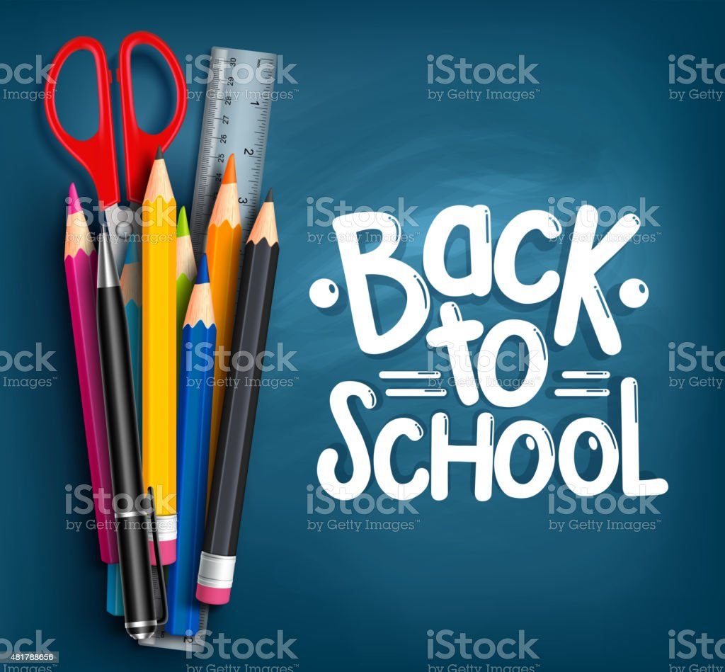 Back to School Title Words with Realistic School Items vector art illustration