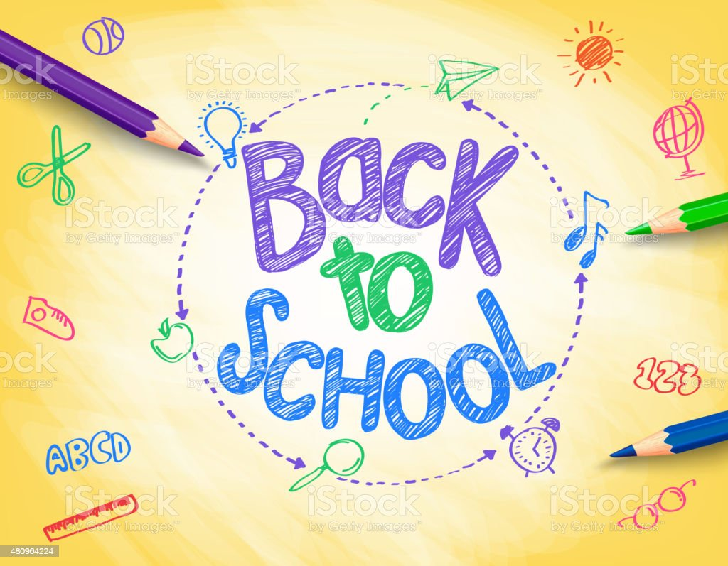 Back to School Title Written by a Colorful Pencils vector art illustration
