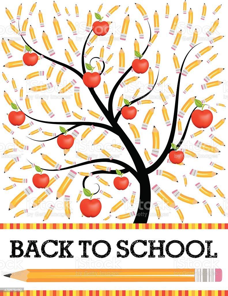 Back To School Tree With Pencils Flyer vector art illustration