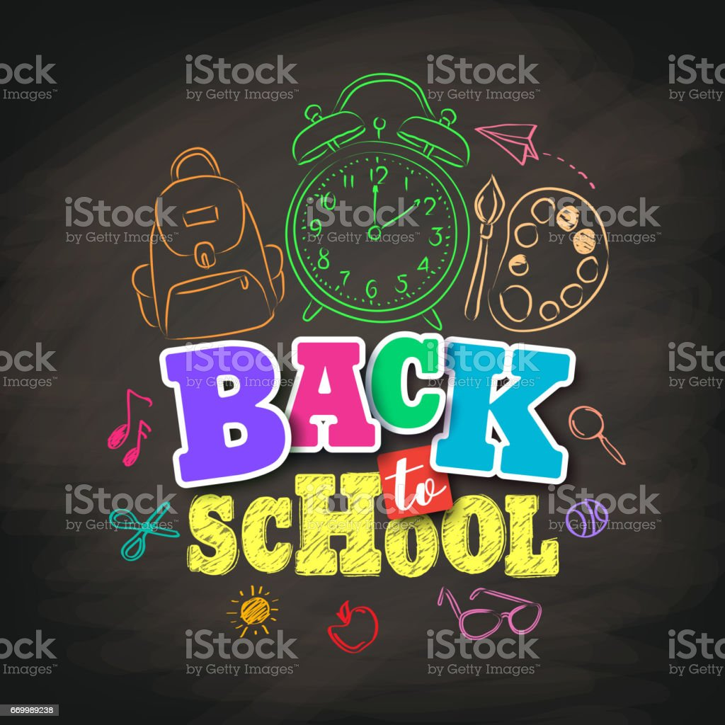 Back to school vector design with colorful texts and education vector art illustration