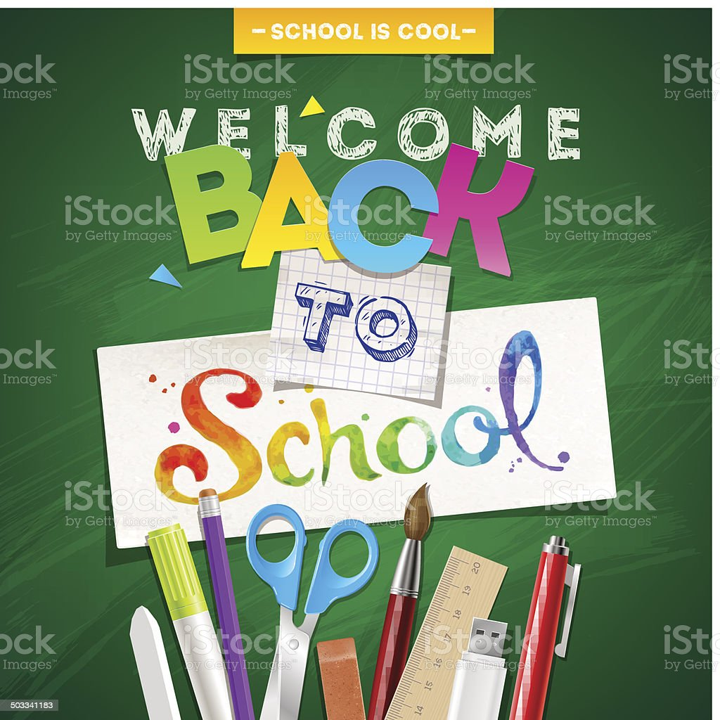 Back to school - vector illustration with stationery vector art illustration