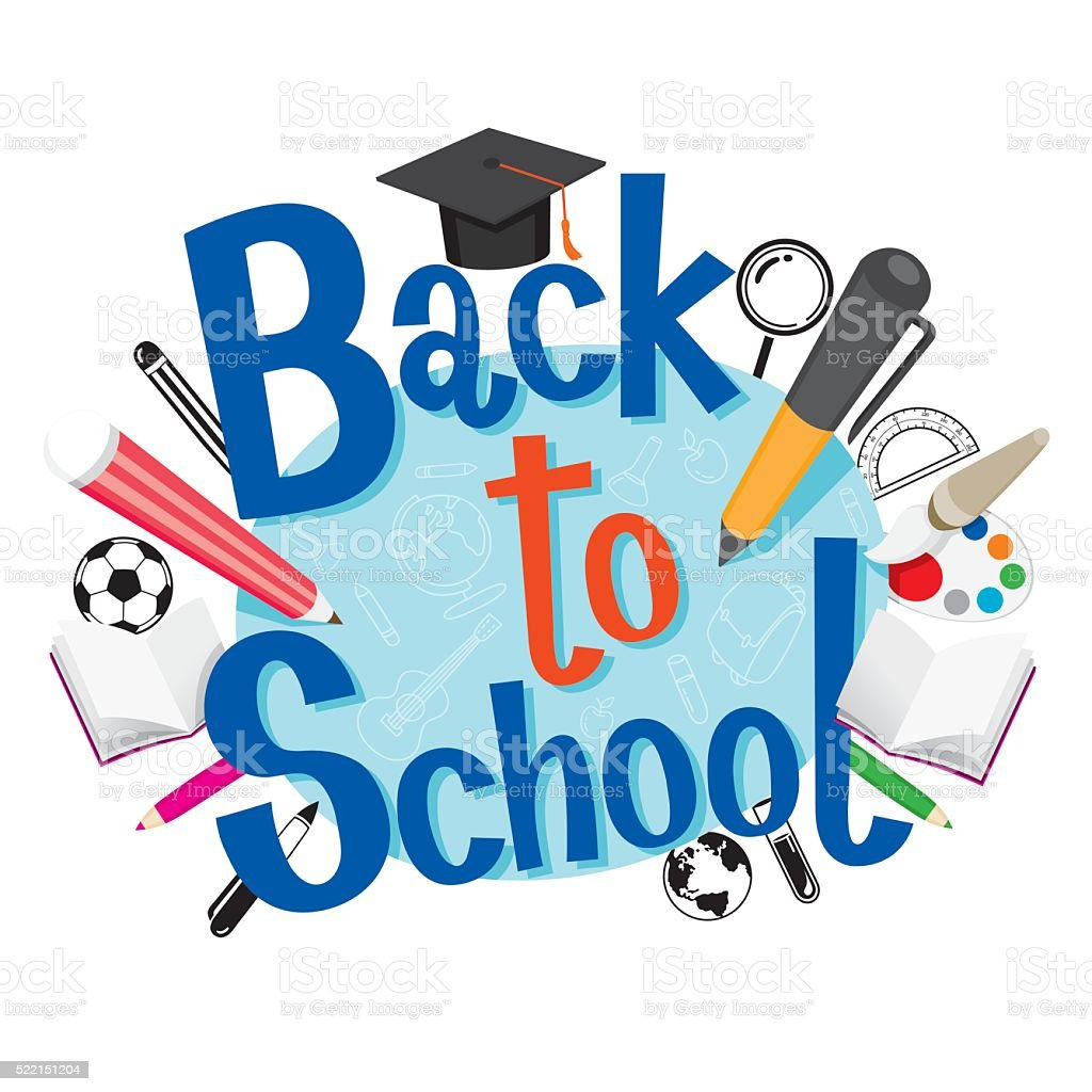 Back To School With Stationery vector art illustration