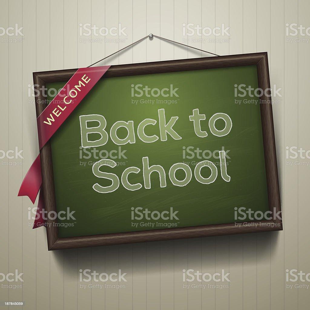 Back to school, written on blackboard with chalk royalty-free stock vector art