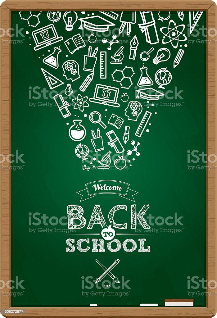 Back to the school badge with education icons royalty-free stock vector art