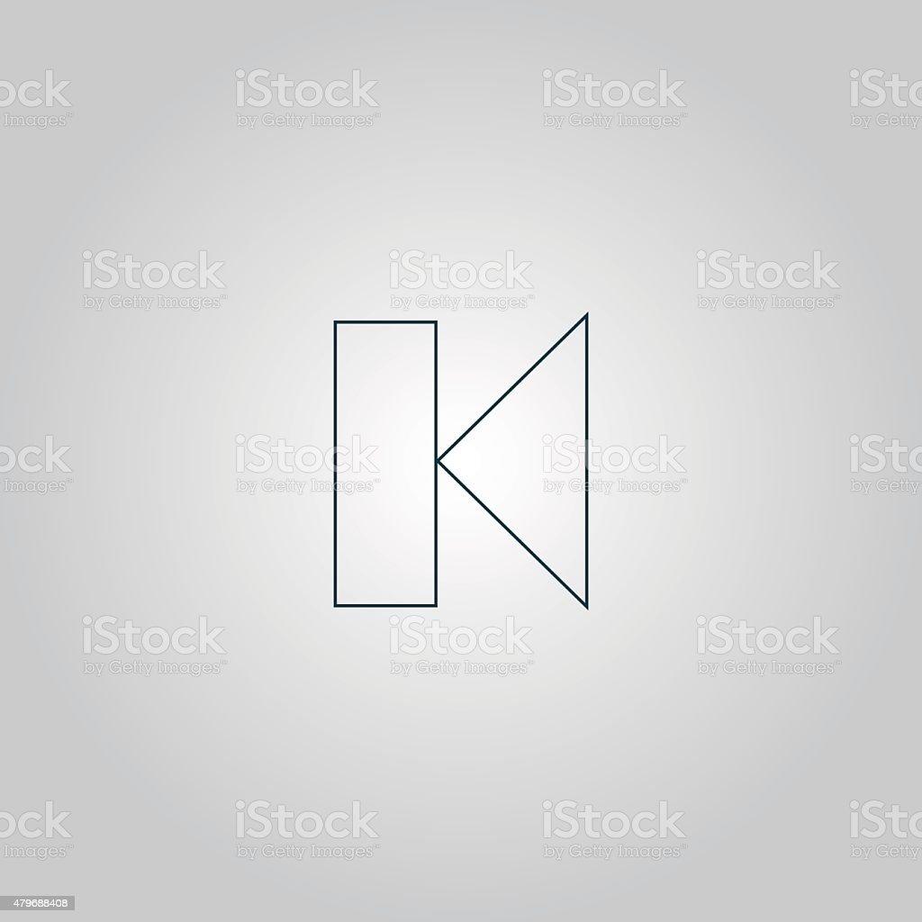 Back Track arrow Media player control button vector art illustration