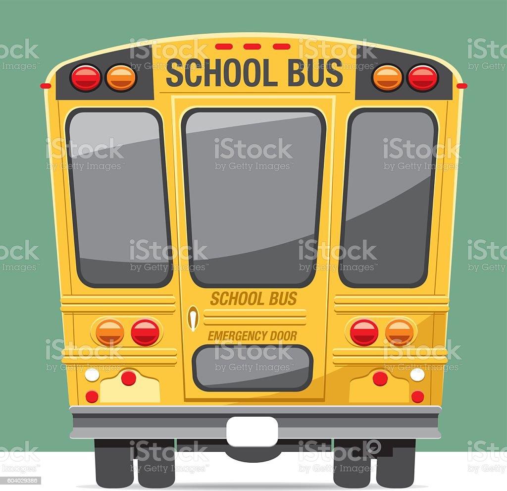 Back view school bus vector art illustration