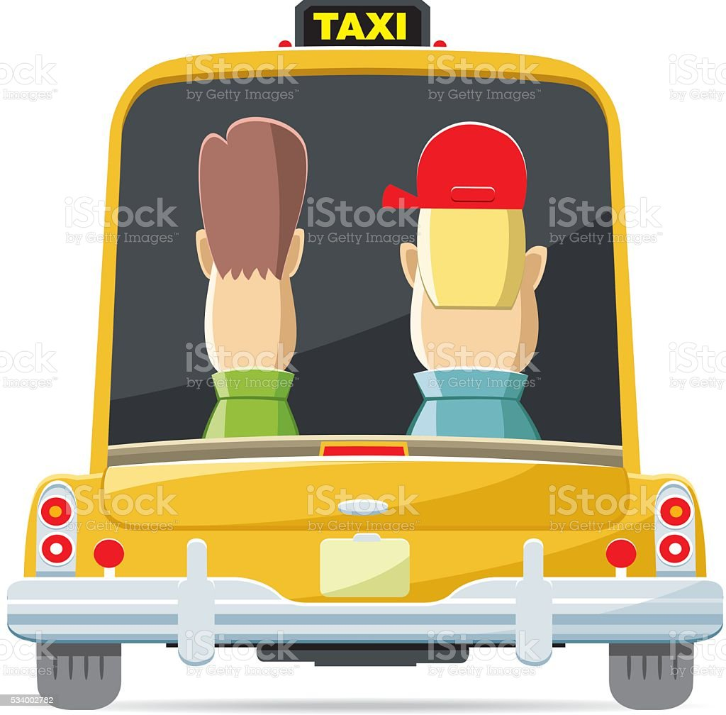 Back view taxi vector art illustration