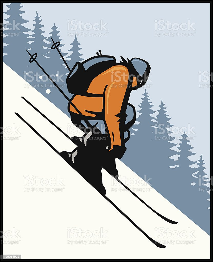 Backcountry Skier royalty-free stock vector art