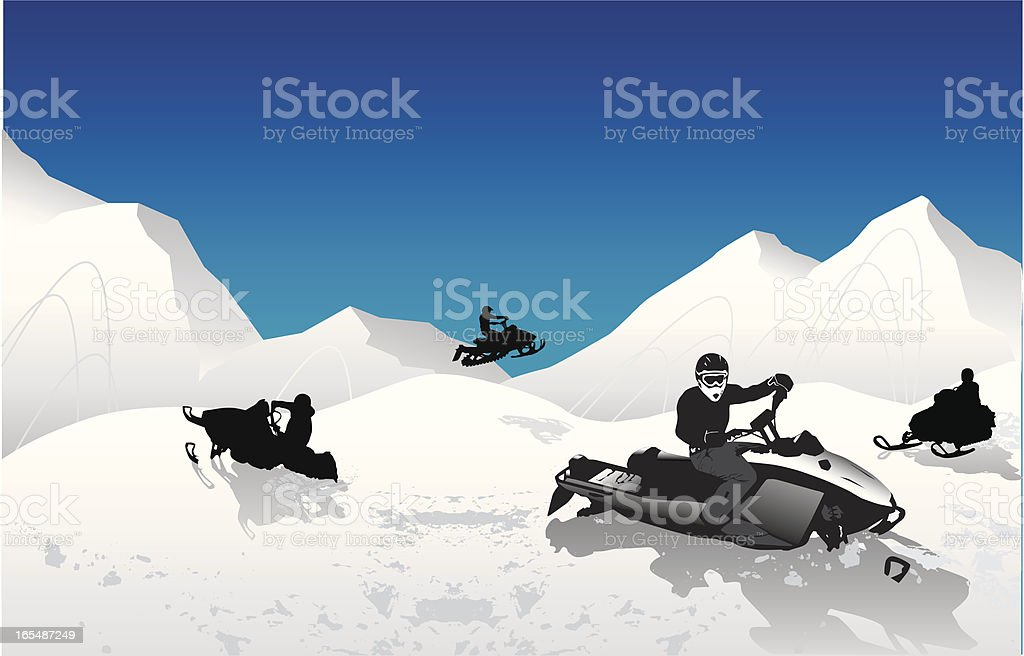 Backcountry Snowmobiling vector art illustration