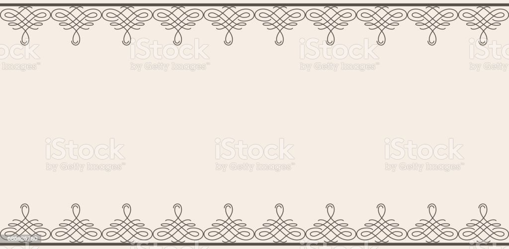 Backdrop with borders in calligraphic retro style in brown color isolated on beige background. vector art illustration