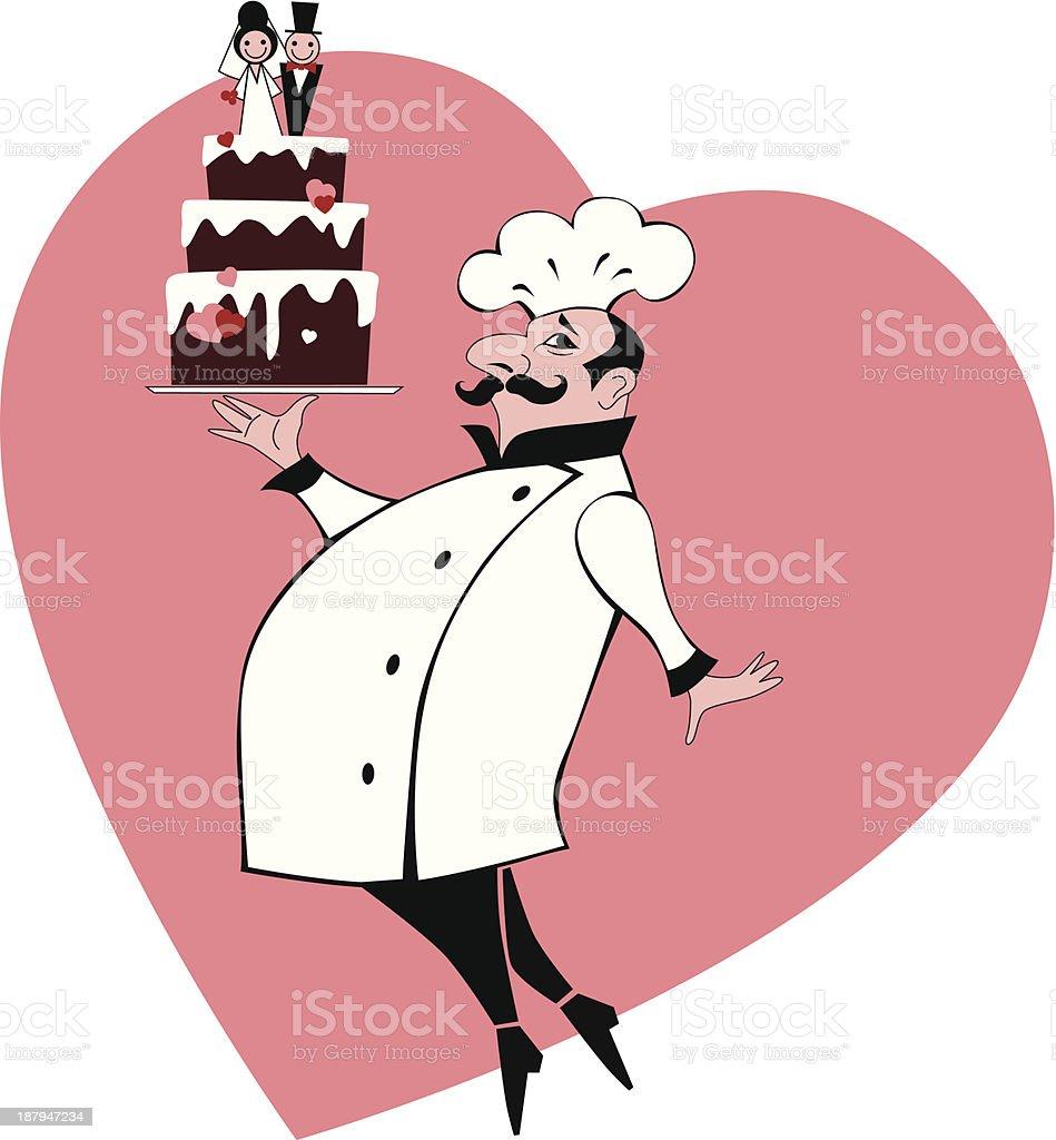 Backer carrying a wedding cake vector art illustration