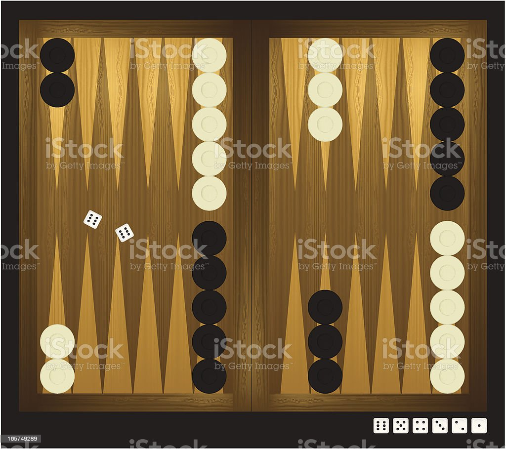 Backgammon with dice royalty-free stock vector art