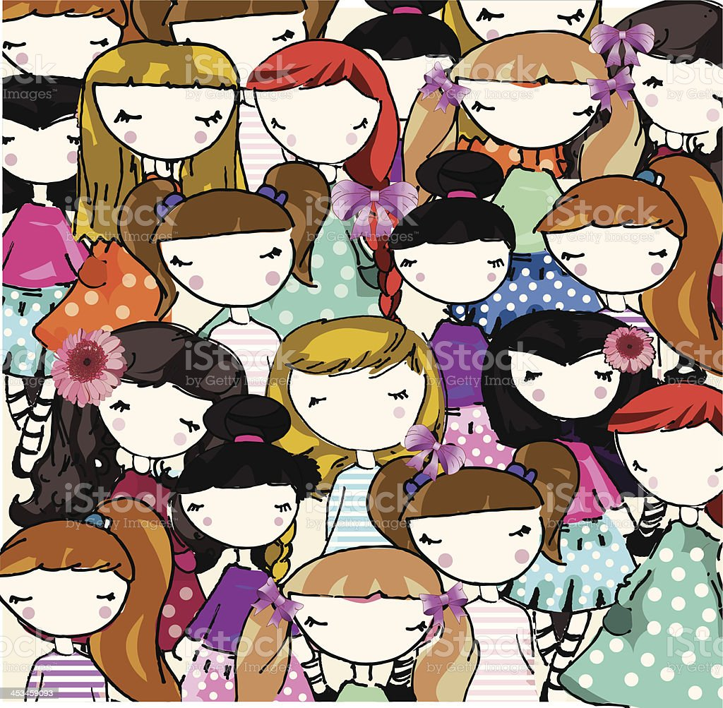 backgound with cute little girls, pattern royalty-free stock vector art