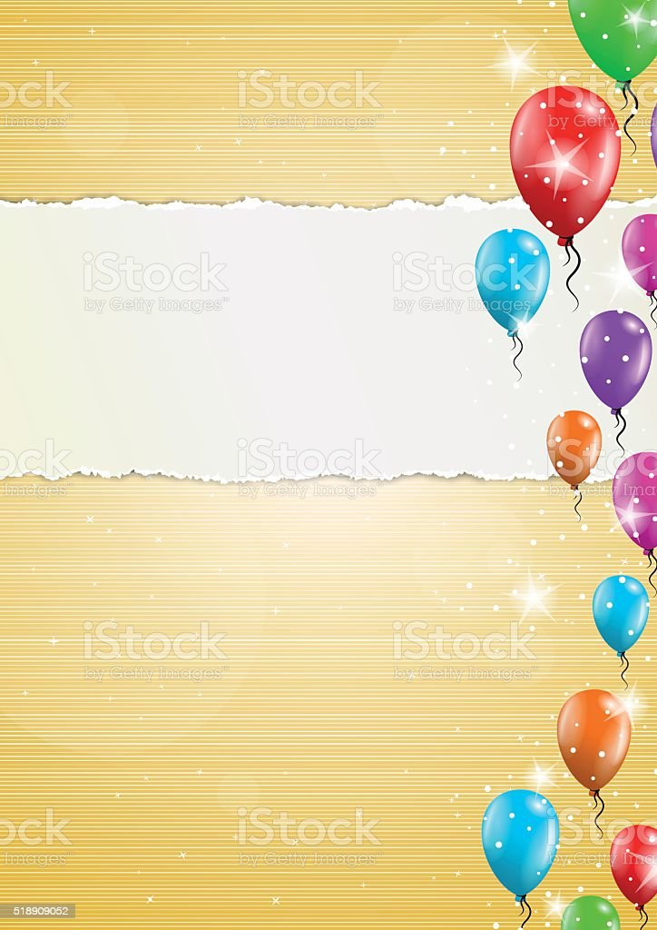 backgroud with balloons and torn paper vector art illustration