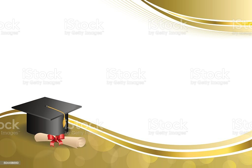 Background abstract beige education graduation cap diploma red bow gold vector art illustration