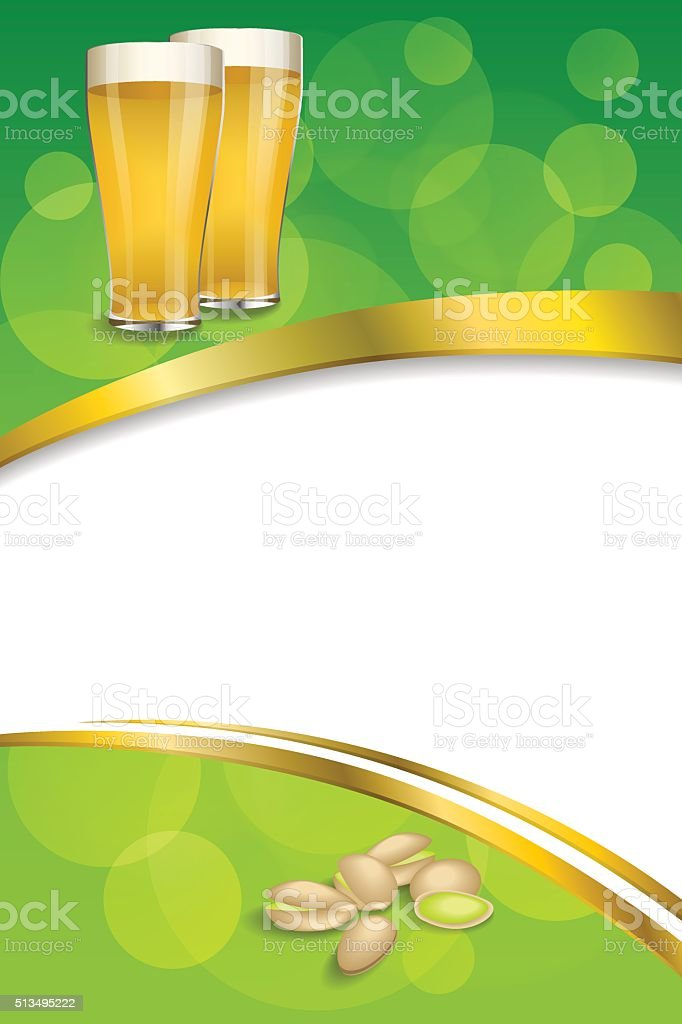 Background abstract green drink glass beer pistachios frame gold ribbon vector art illustration