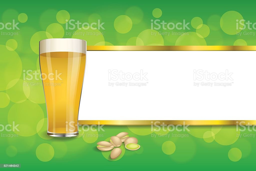 Background abstract green drink glass beer pistachios frame gold vector vector art illustration