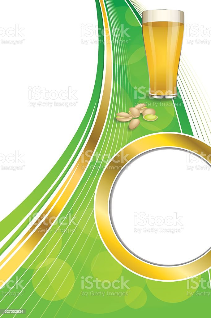 Background abstract green drink glass beer pistachios frame vertical vector vector art illustration