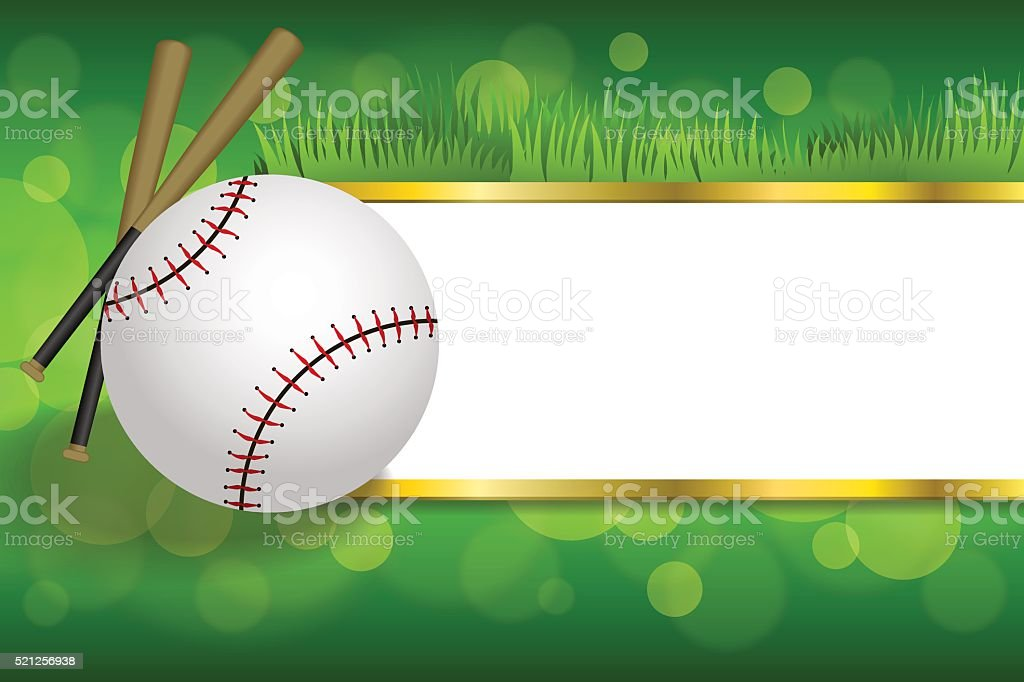 Background abstract green sport white baseball ball club gold strips...