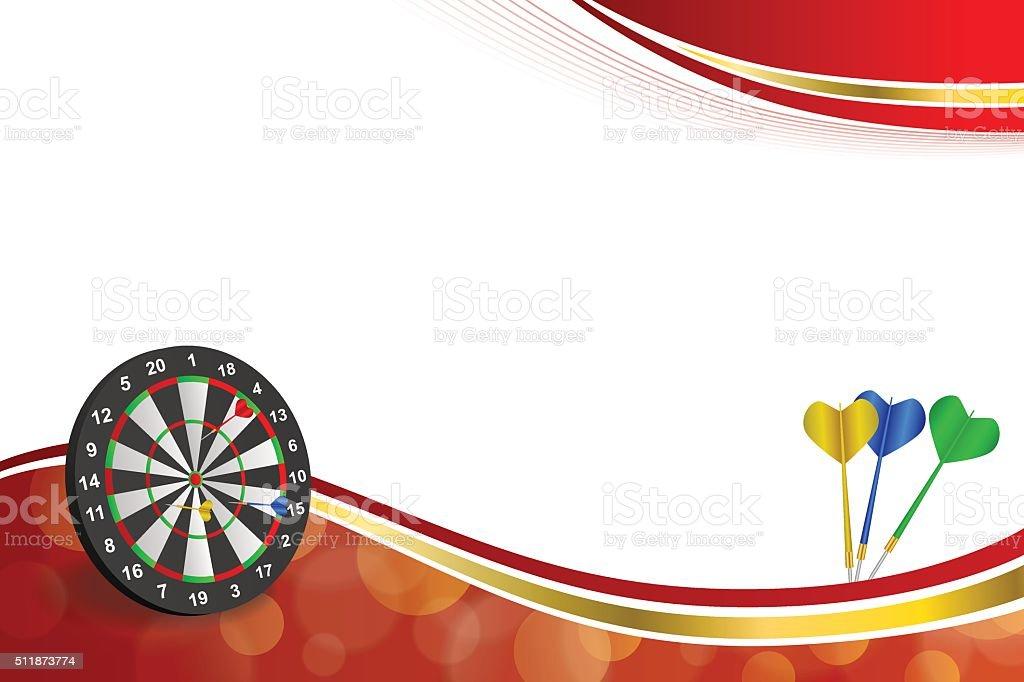 Background abstract red gold darts board frame illustration vector vector art illustration