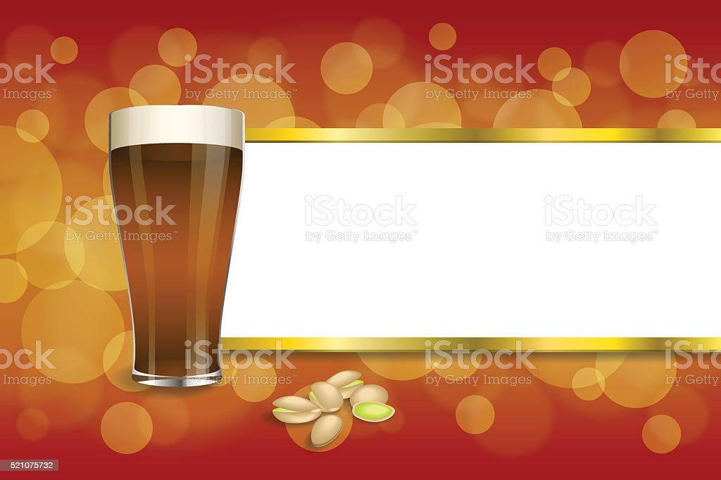 Background abstract red gold drink glass dark beer pistachios vector vector art illustration