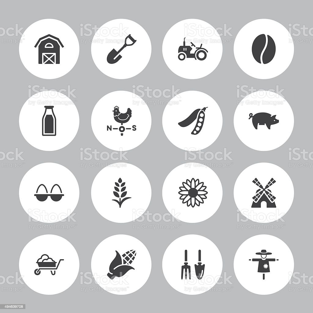 Background Agriculture  - 16 Icons vector art illustration