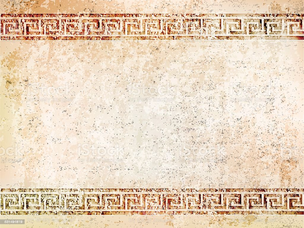 background antique wall with greek ornament meander.vector illustration vector art illustration