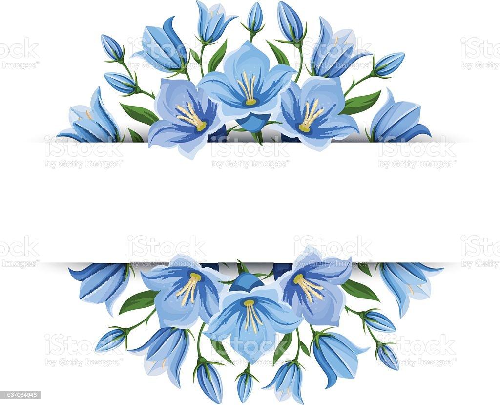 Background banner with bluebell flowers. Vector illustration. vector art illustration